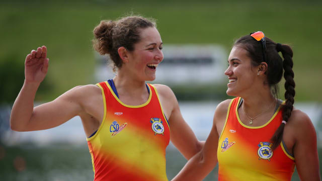 Anna Boada (L) and Aina Cid celebrate qualifying for Rio 2016