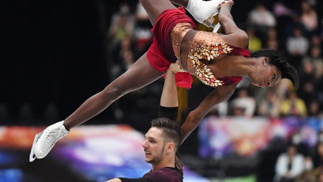 Vanessa James and Morgan Cipres of France took second in the World Team Trophy pairs short program