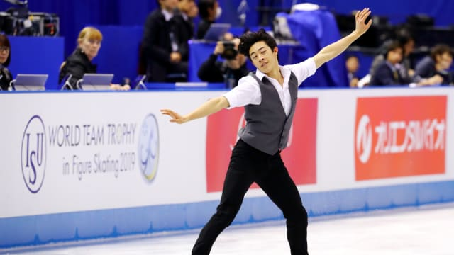 Double world champion Nathan Chen takes victory in the short program at the World Team Trophy in Fukuoka