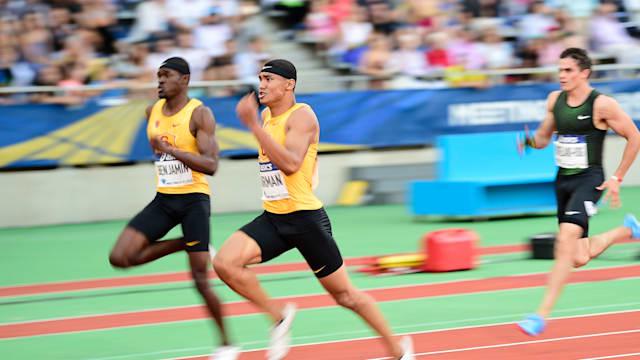 Michael Norman wins the 2018 Paris Diamond League 200m from USC team-mate Rai Benjamin