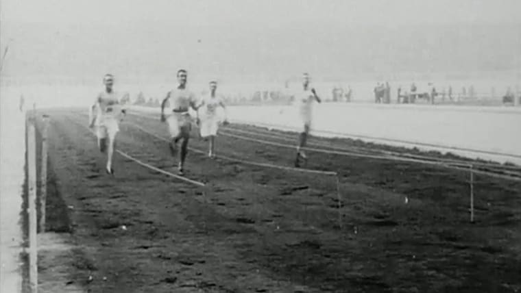 In 1908 in London, with the 100m winners.
