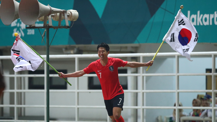 Son Heung-min celebrates after South Korea clinched the Asian Games title in Jakarta.