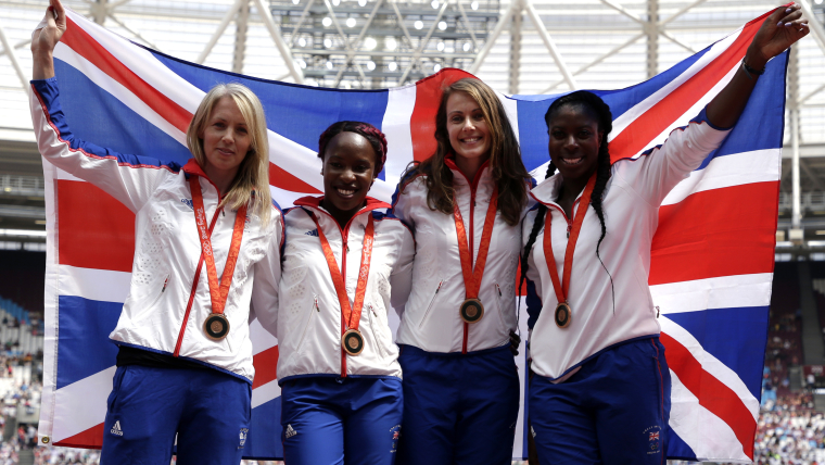 Southerton and Great Britain celebrate receiving their reallocated bronze medals at London's Anniversary Games