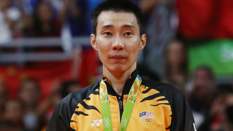 Lee Chong Wei on the podium after winning silver at Rio 2016