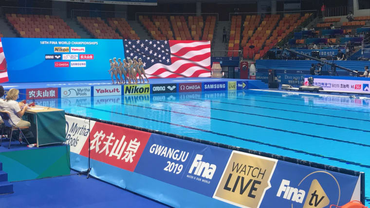 The USA robot routine makes its artistic swimming debut