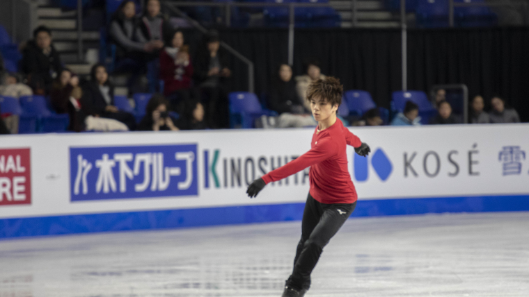 Japan's Shoma Uno during practice at the Grand Prix Final in Vancouver