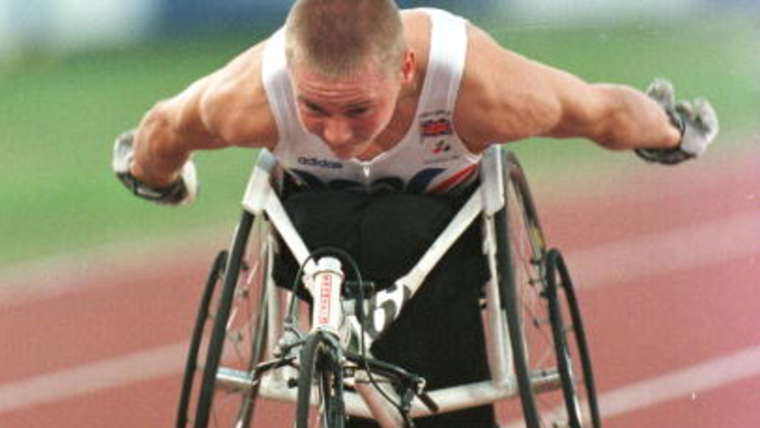 David Weir of Great Britain competes in the men's T53 400m at Atlanta 1996