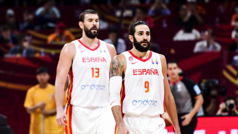Ricky Rubio and Marc Gasol during the semi-finals match between Spain and Australia.
