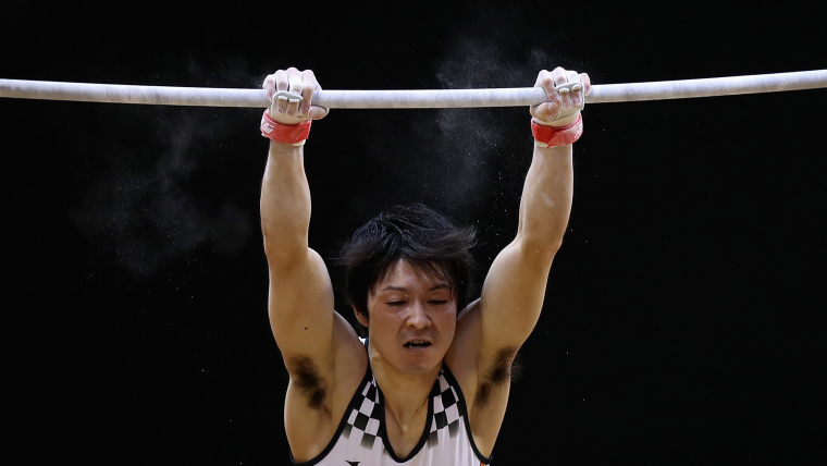Kohei Uchimura on the horizontal bar in qualification at the World Artistic Gymnastics Championships in Doha