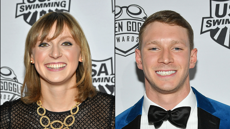 Katie Ledecky and Ryan Murphy on the red carpet in New York