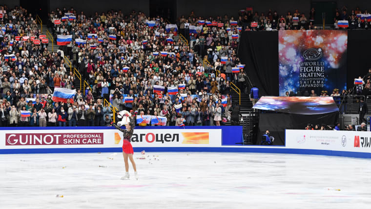 Alina Zagitova during the Women's Award ceremony in Saitama