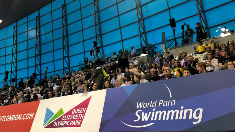 Fans at the London Aquatics Centre in the Olympic Park. Pic: Olympic Channel