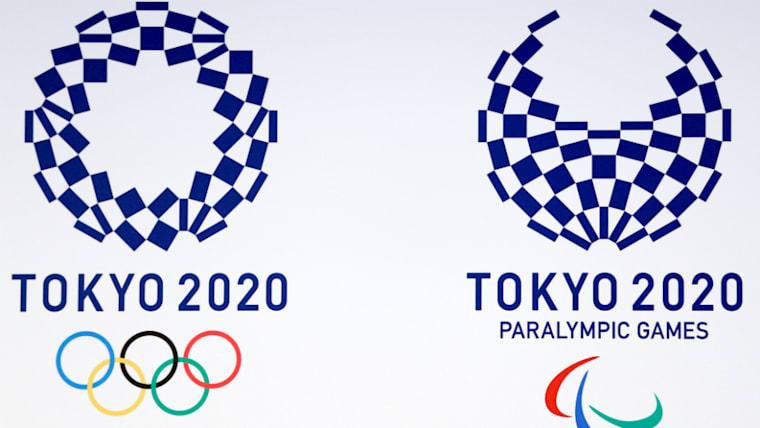 2020年東京五輪のエンブレム。5つの輪のマークのオリンピックシンボルが含まれたものが「エンブレム」、含まないものが「ロゴ」と呼ばれる