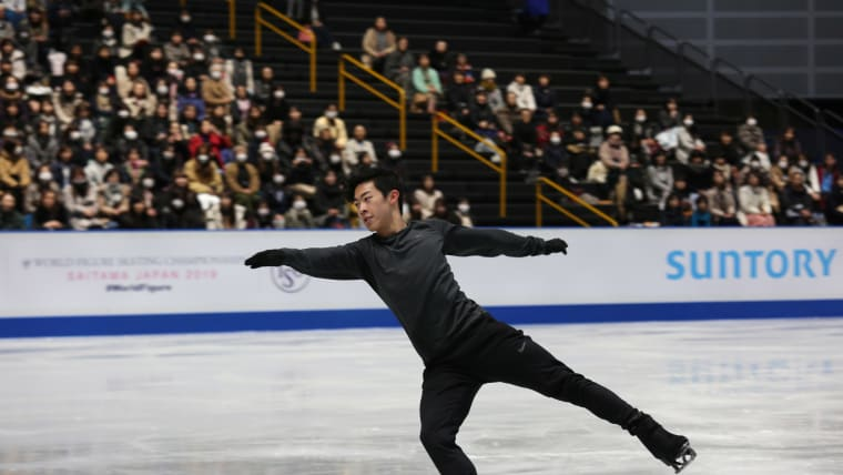 Nathan Chen practices on the first day of the World Figure Skating Championships in Saitama, Japan