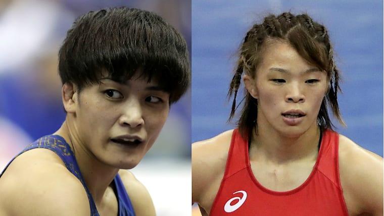 伊調馨(左)と川井梨沙子(右)が東京五輪につながる世界選手権出場をかけてプレーオフで激突。金メダリスト同士の一戦に注目が集まる
