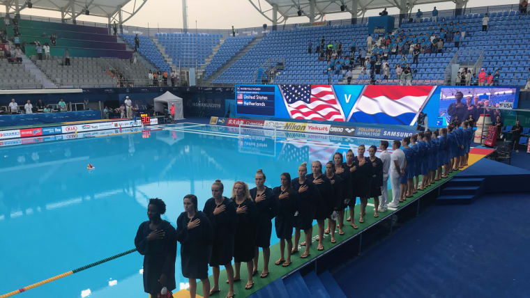 Olympic and world champions U.S.A. sing the national anthem