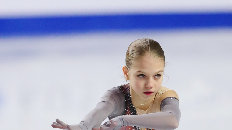Alexandra Trusova skates at the Junior Grand Prix at Doug Mitchell Thunderbird Sports Centre in Vancouver, BC, Canada.