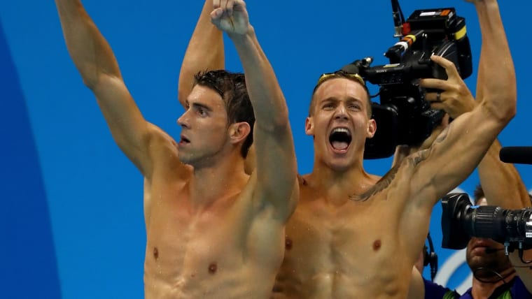 Michael Phelps and Caeleb Dressel celebrate winning gold in the 4x100m freestyle relay at Rio 2016