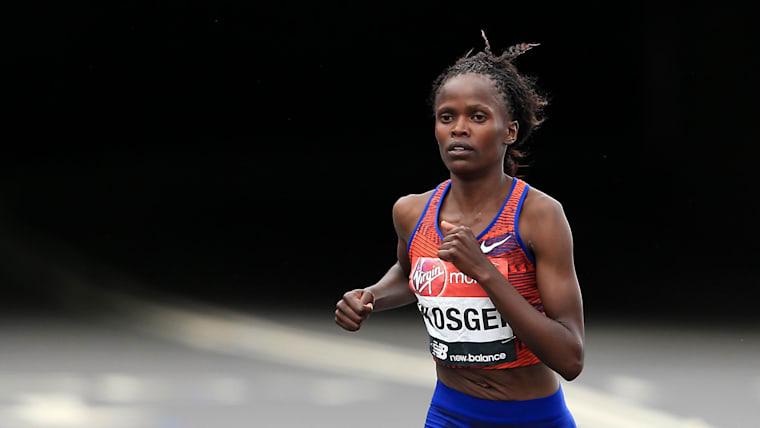 Brigid Kosgei on her way to victory in the 2019 London Marathon