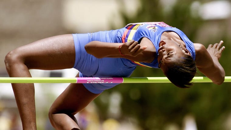 Caterine Ibarguen taking part in a high jump competition in Colombia in 2011
