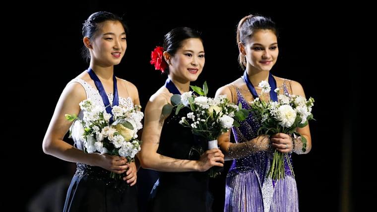 Kaori Sakamoto (JPN), Satoko Miyahara (JPN), and Sofia Samodurova (RUS) stand on the podium Credit: Joe Nicholson-USA TODAY Sports