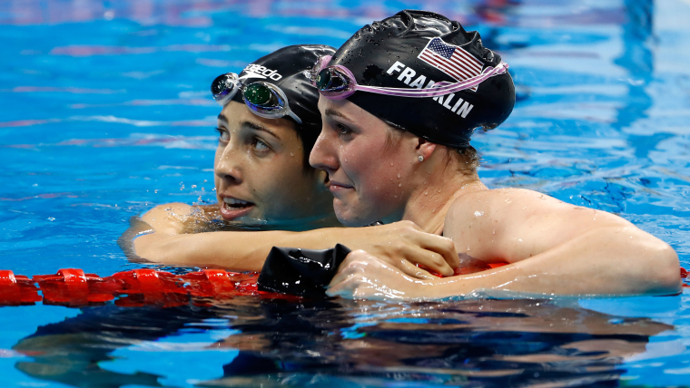 Missy Franklin with team-mate Maya DiRado after failing to qualify from the 200m backstroke semi-finals at Rio 2016