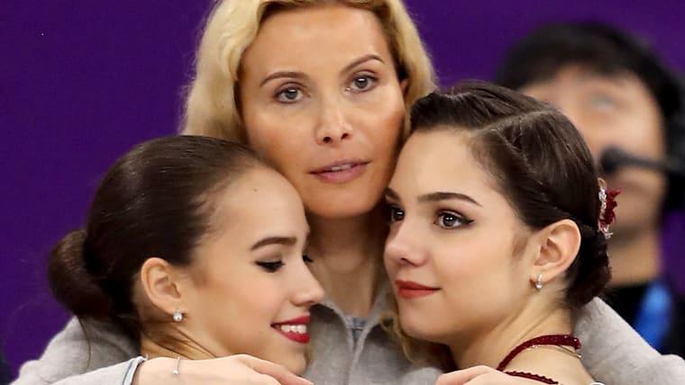 Eteri Tutberidze with Alina Zagitova and Evgenia Medvedeva