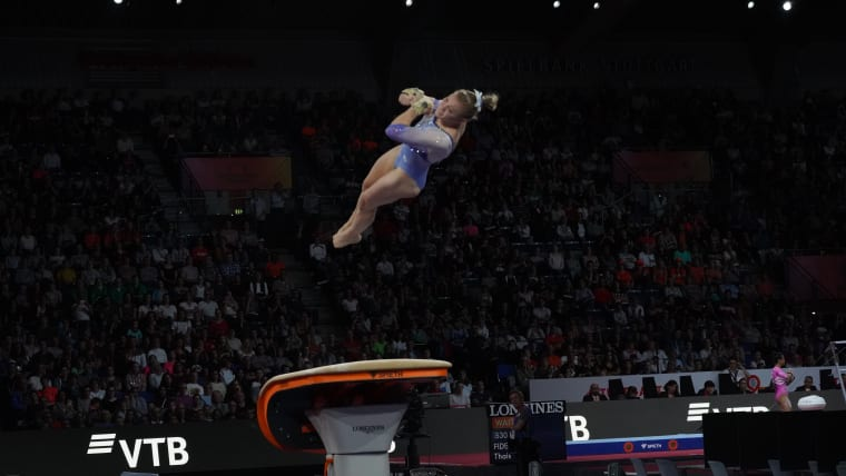 Jade Carey vaults at the 2019 World Championships (Photo: Olympic Channel)