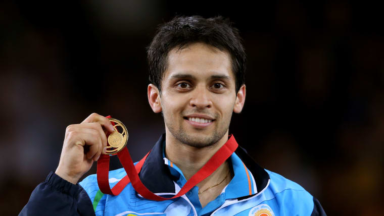 Parupalli Kashyap celebrates after winning the Commonwealth gold medal