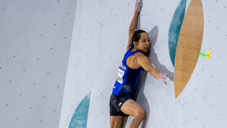 Akiyo Noguchi competing in bouldering at the 2019 IFSC Climbing World Championships in Hachioji, Japan (photo courtesy IFSC/Eddie Fowke)