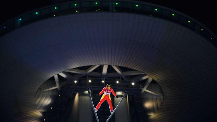 China's Xinyue Chang during ski jumping competition at PyeongChang 2018