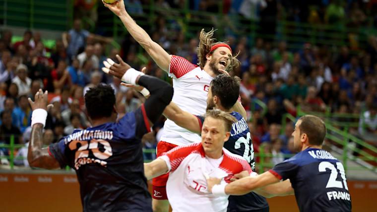 Mikkel Hansen shooting in the Rio 2016 final against France