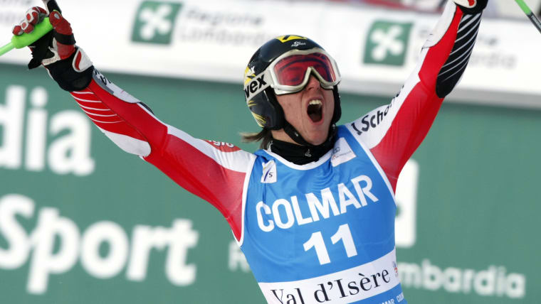 Marcel Hirscher celebrates his first World Cup win in the Val d'Isere giant slalom on 13 December 2009