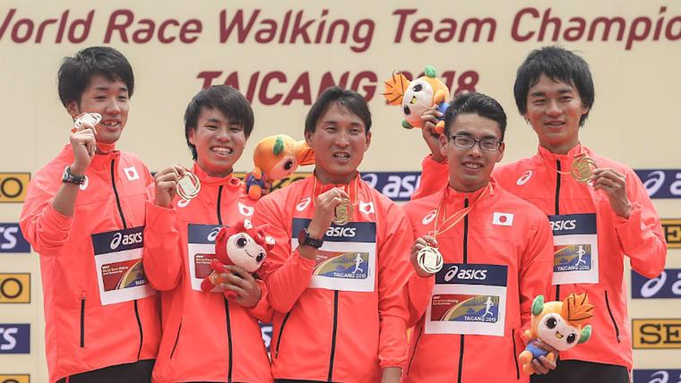 左から松永大介、池田向希、藤澤勇、山西利和、高橋英輝。日本の男子競歩陣は世界トップクラスの実力を持つ