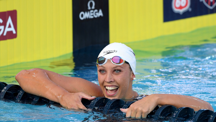 Kathleen Baker celebrates her new world record at the U.S. nationals in July