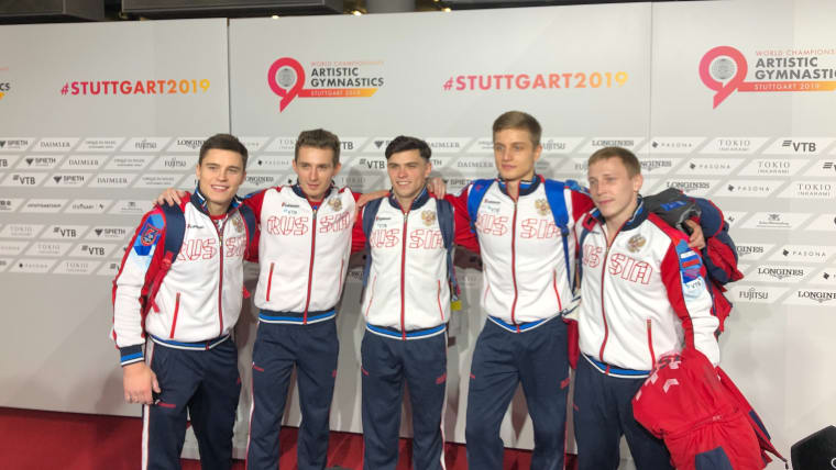 Russia pose in the mixed zone after qualification at the 2019 World Championships (Photo: Olympic Channel)