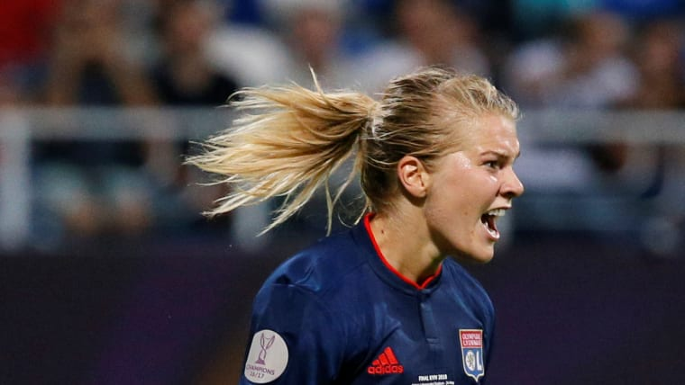 Ana Hegerberg of Lyon scores third goal in 4-1 win against Wolfsburg in 2018 UEFA Women's Champions League final