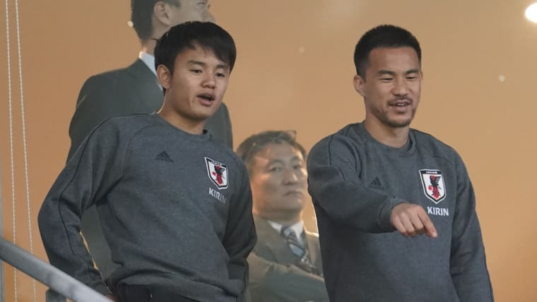 Takefusa Kubo (L) and Shinji Okazaki prior to the international friendly match between Japan and Trinidad and Tobago in Toyota, Aichi, Japan, June 05, 2019. (Photo by Toru Hanai/Getty Images)