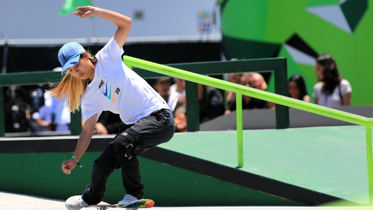 Aori Nishimura of Japan keeps her balance while competing in a competition final in 2018.