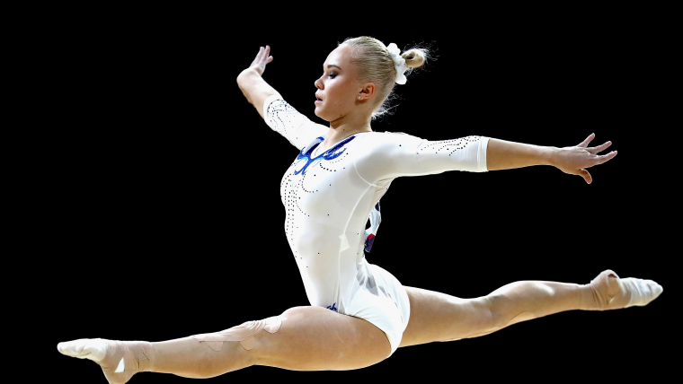 Angelina Melnikova performing at the European Championships Glasgow 2018