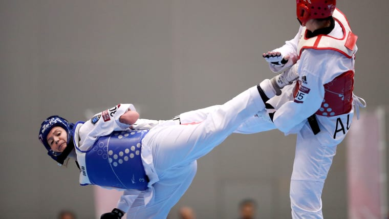 Amy Truesdale during the semi-final round at READY STEADY TOKYO - Para - taekwondo