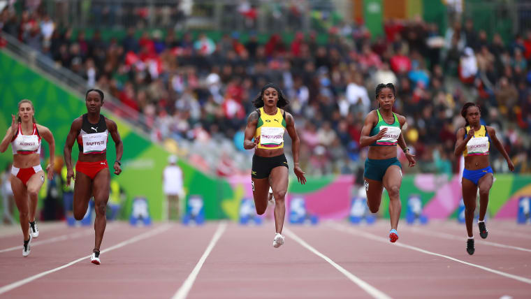 Elaine Thompson wins the women's 100m semi-final at the Pan American Games Lima 2019.