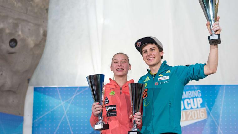 Janja Garnbret and Domen Skofic celebrate their 2016 lead World Cup titles in Kranj, Slovenia (photo courtesy of IFSC/Eddie Fowke)