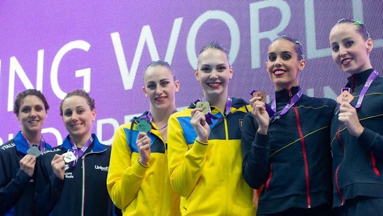 World Series Budapest podium (L-R): runners-up Linda Cerruti and Constanza Ferro, winners Anastasiya Savchuk and Marta Fiedina, and third-placed Ona Carbonell and Paula Ramirez (photo courtesy of FINA)