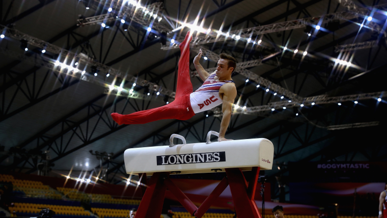 Sam Mikulak on the pommel horse in qualification at the World Artistic Gymnastics Championships in Doha