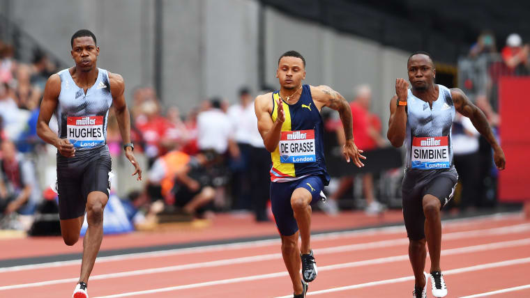 Andre De Grasse finishes fifth behind Akani Simbine and Zharnel Hughes in the 2019 London Anniversary Games 100m