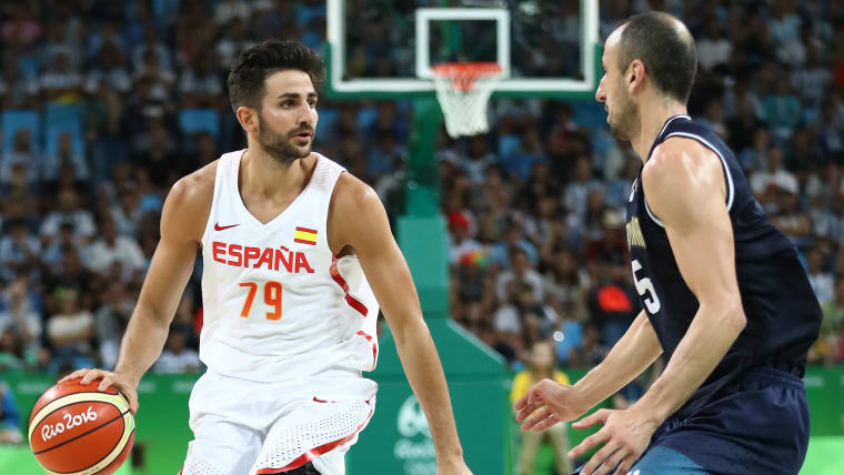Ricky Rubio and Manu Ginobili during a Preliminary Round game between Spain and Argentina at the Rio 2016 Olympic Games.