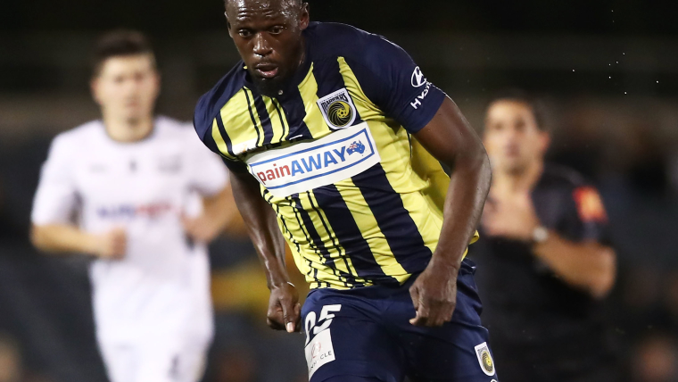 Usain Bolt plays in a pre-season friendly for the Central Coast Mariners in Australia