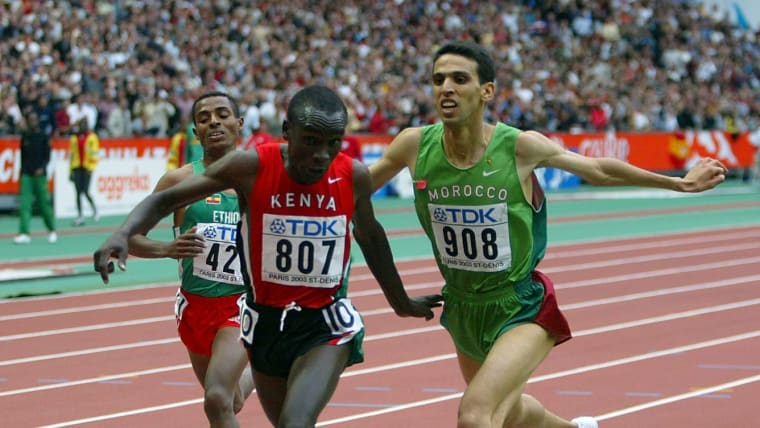 Eliud Kipchoge wins the 5000m at the 2003 World Championships in Paris from Hicham El Guerrouj and Kenenisa Bekele