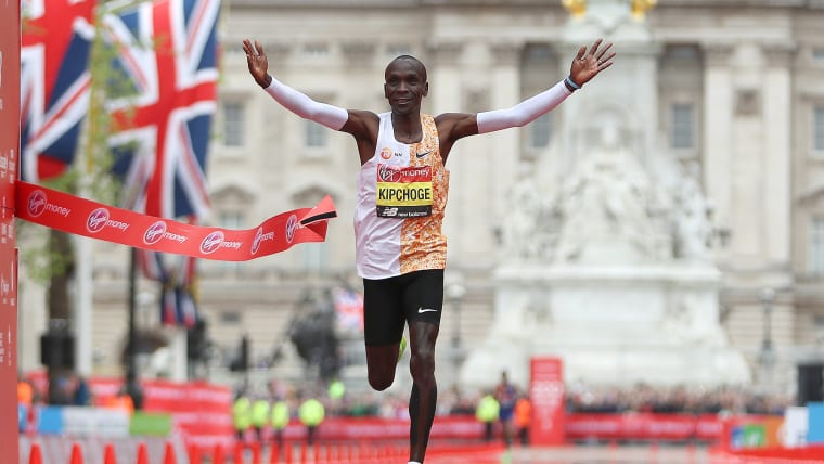 Eliud Kipchoge crosses the line to win his fourth London Marathon